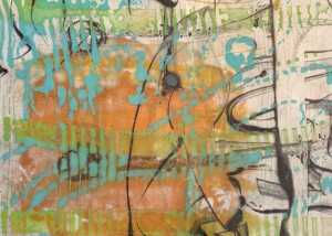 "Cinco de Mayo, Encaustic Monotype on Japanese Paper, 21"" x 10.5"""