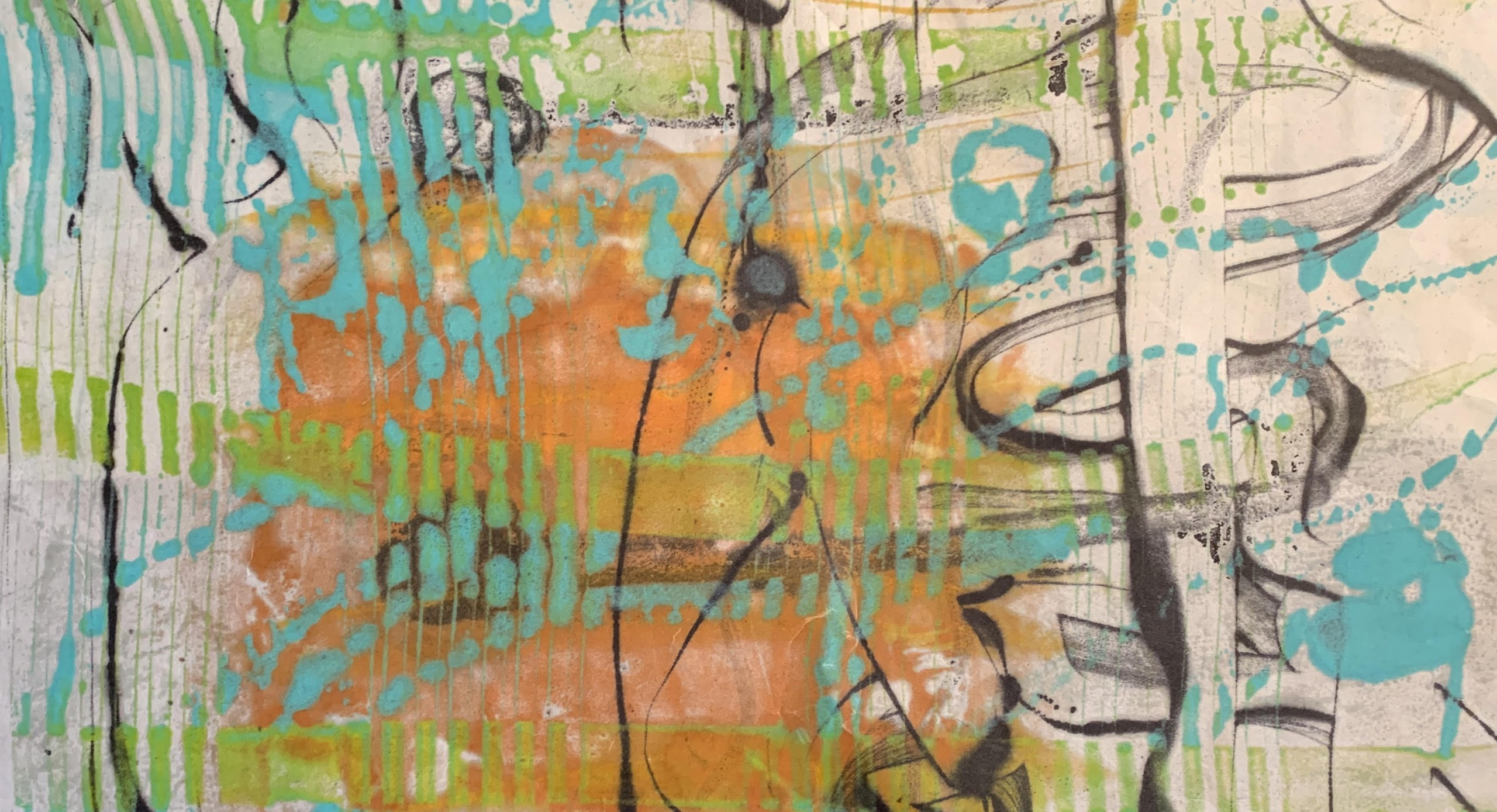 Cinco de Mayo, Encaustic Monotype on Japanese Paper by Christine Towner, 21in x 10.5in