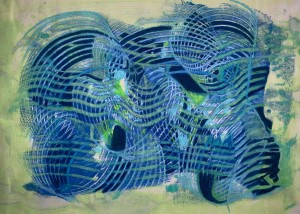 "Cyber Web, Encaustic on Japanese paper, Framed-22 1/2"" x 16 1/2"", $750"