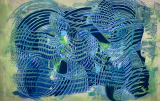 "Cyber Web, Encaustic on Japanese paper by Christine Towner, Framed-22 1/2"" x 16 1/2"", $750"