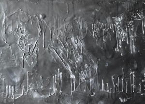 "Quiet Majesty, Encaustic, Graphite with Japanese Paper, Artprize 2018, 39"" x16"", Price:$1,200"