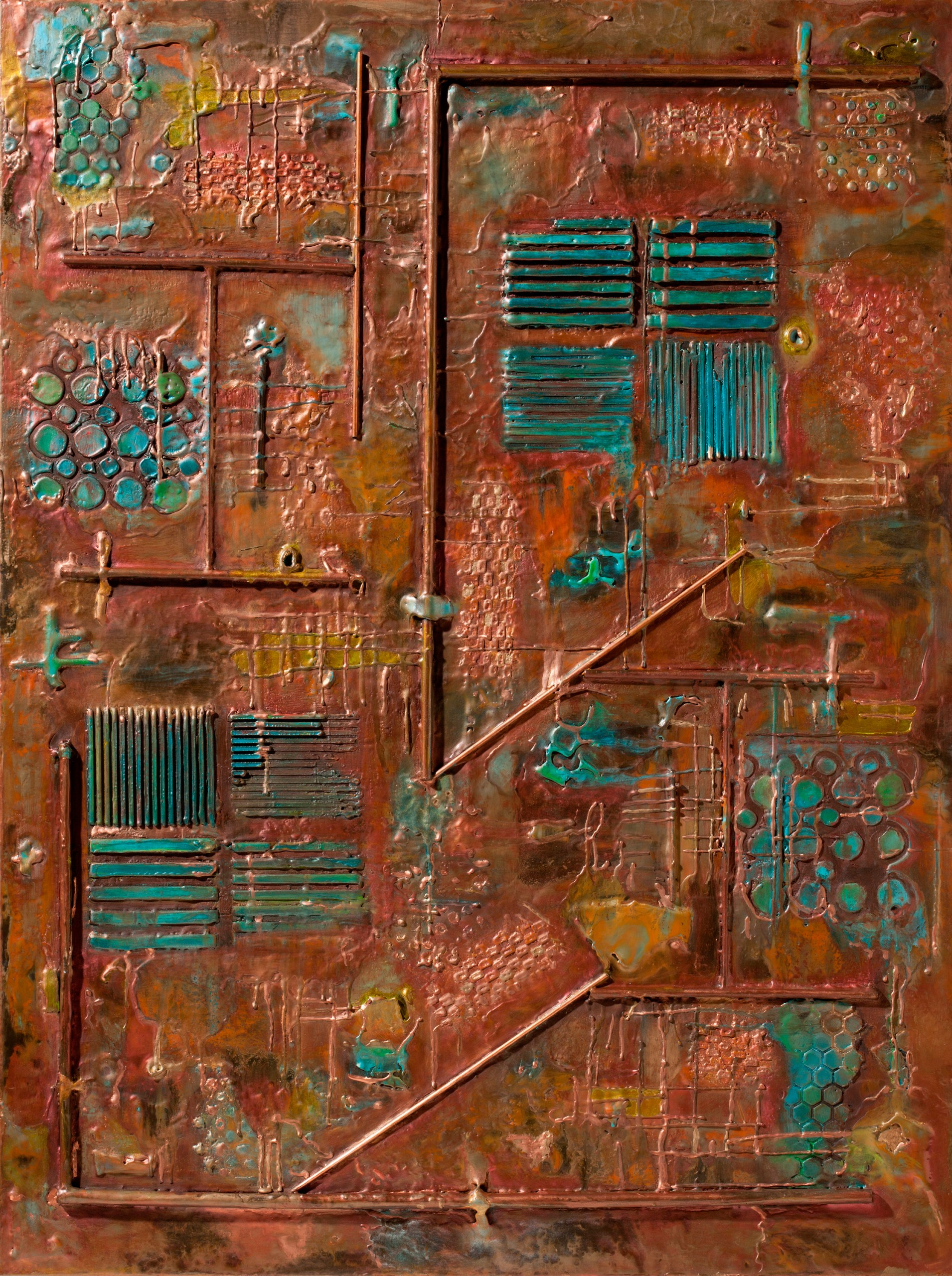 """Creative Tension, Encaustic on wooden panel, Framed 40"""" x 30"""","""