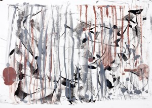 """Dusk, Encaustic on Rives Paper, 30.5"""" X 25"""""""