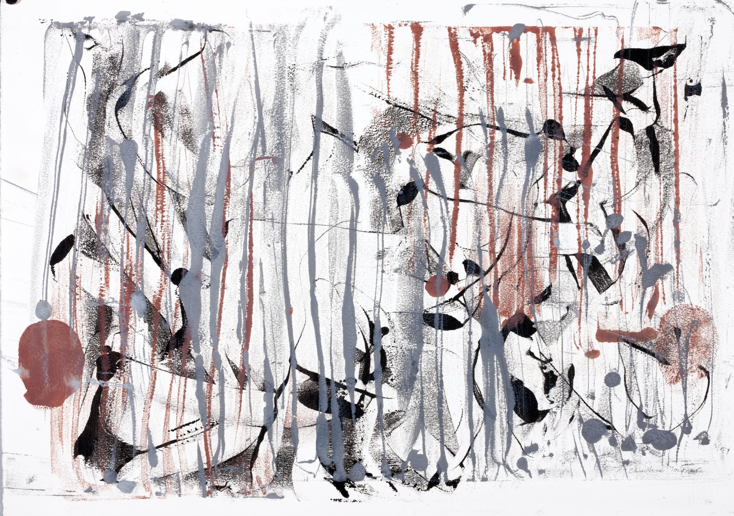 Dusk, Encaustic on Rives Paper, 30.5
