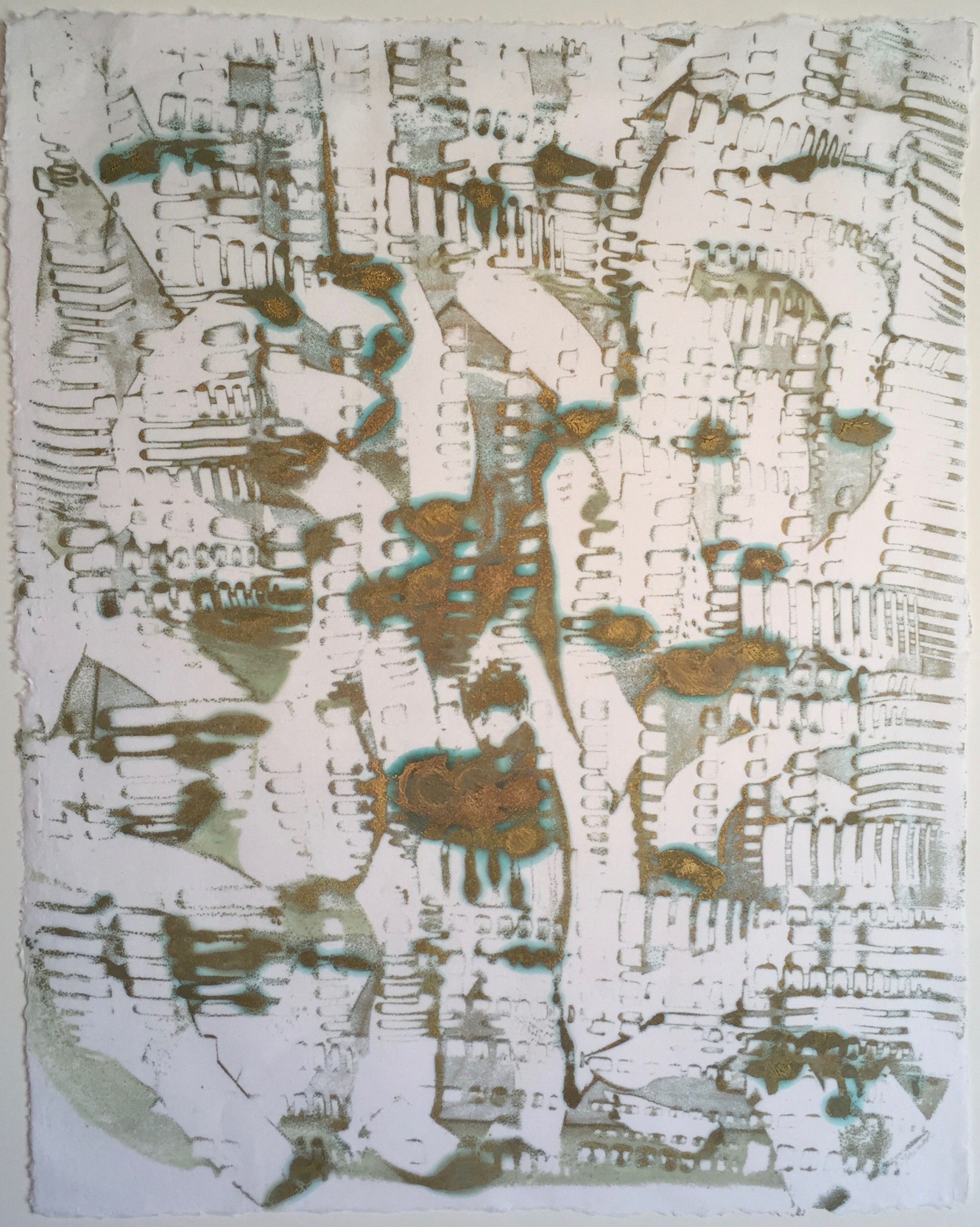 Egyptian Map, Encaustic on Japanese Paper, 27 1/2
