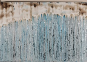 "Global Change, Encaustic on wooden panel, Framed 39""X27"", Price: $750"