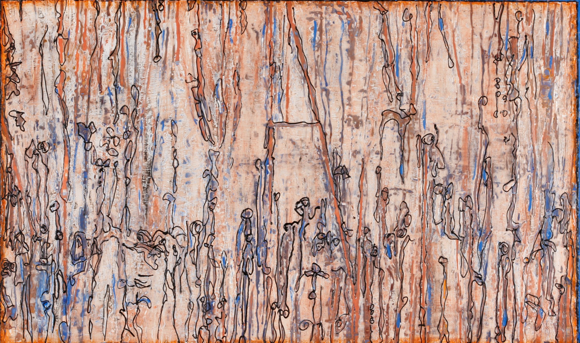 Imagine All The People, Encaustic on wooden panel, 2' x 3', Price: $750