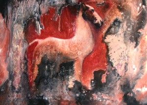 "Ming Dynasty Horse, Encaustic on wooden panel, Framed 20"" x 20"""
