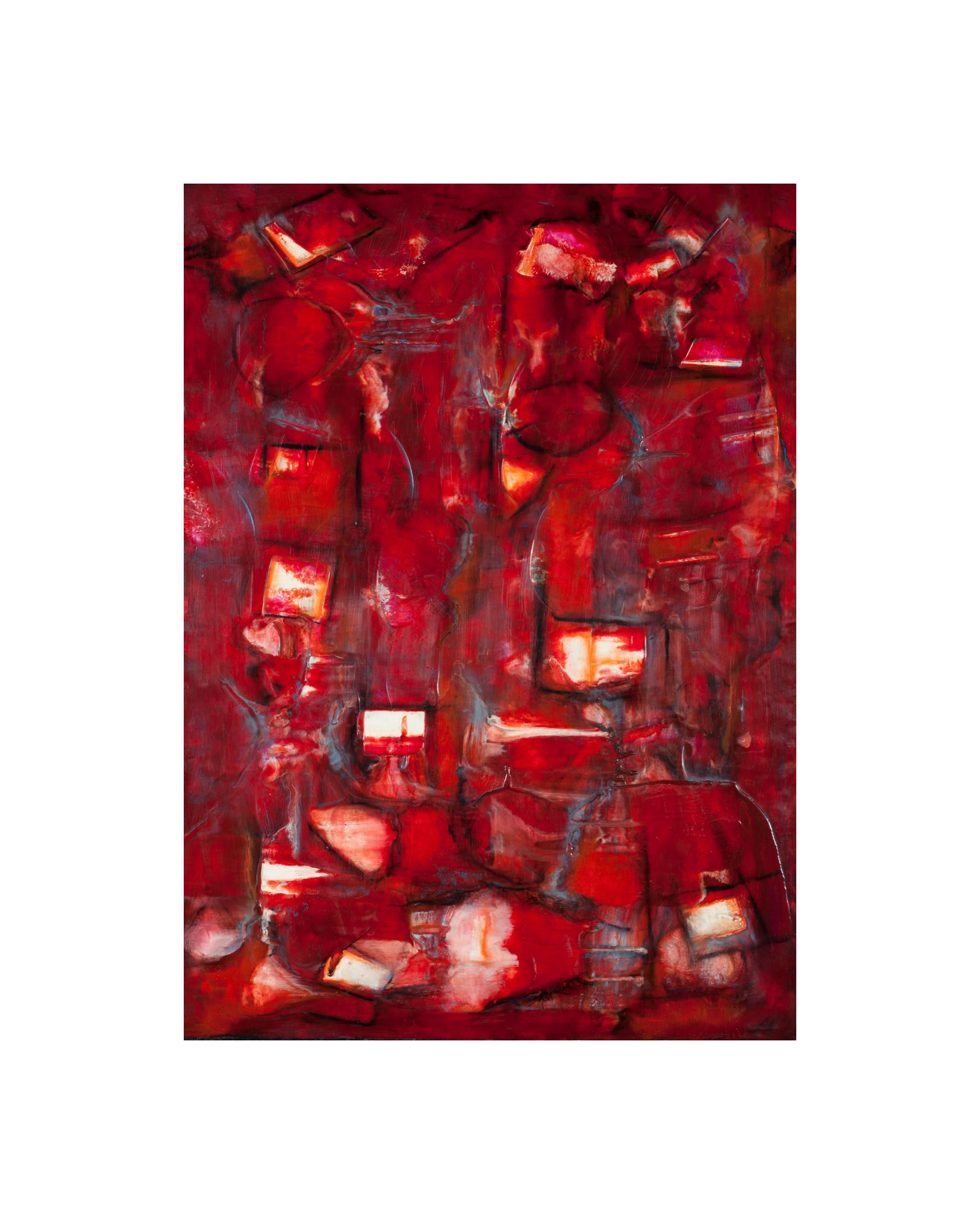 Passion, Encaustic on wooden panel, Framed 25.5