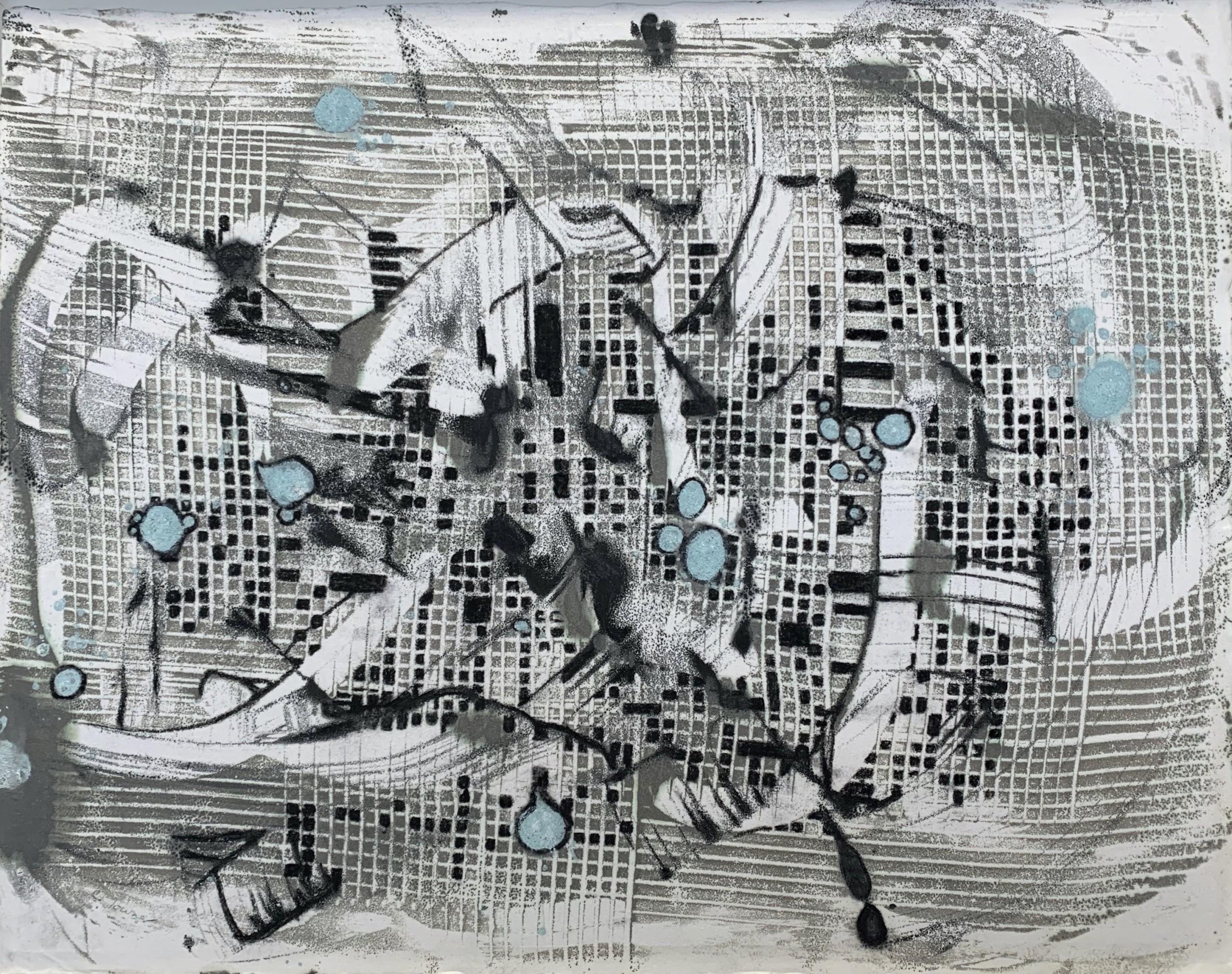 Pinged, Encaustic on Japanese Paper, 25