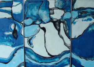 "Reflection, Encaustic on wooden panel, Framed 13"" x 59"""