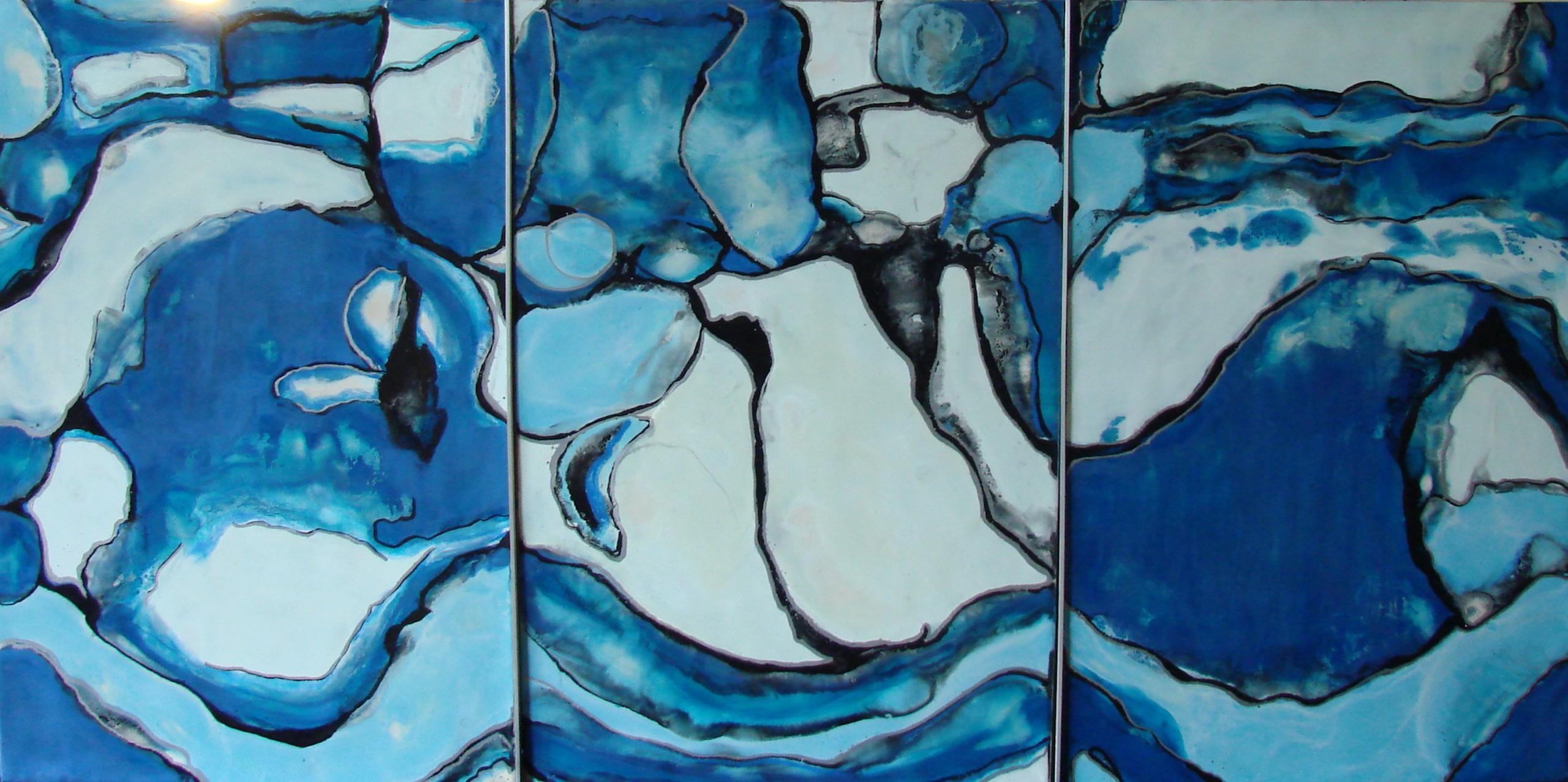 Reflection, Encaustic on wooden panel, Framed 13