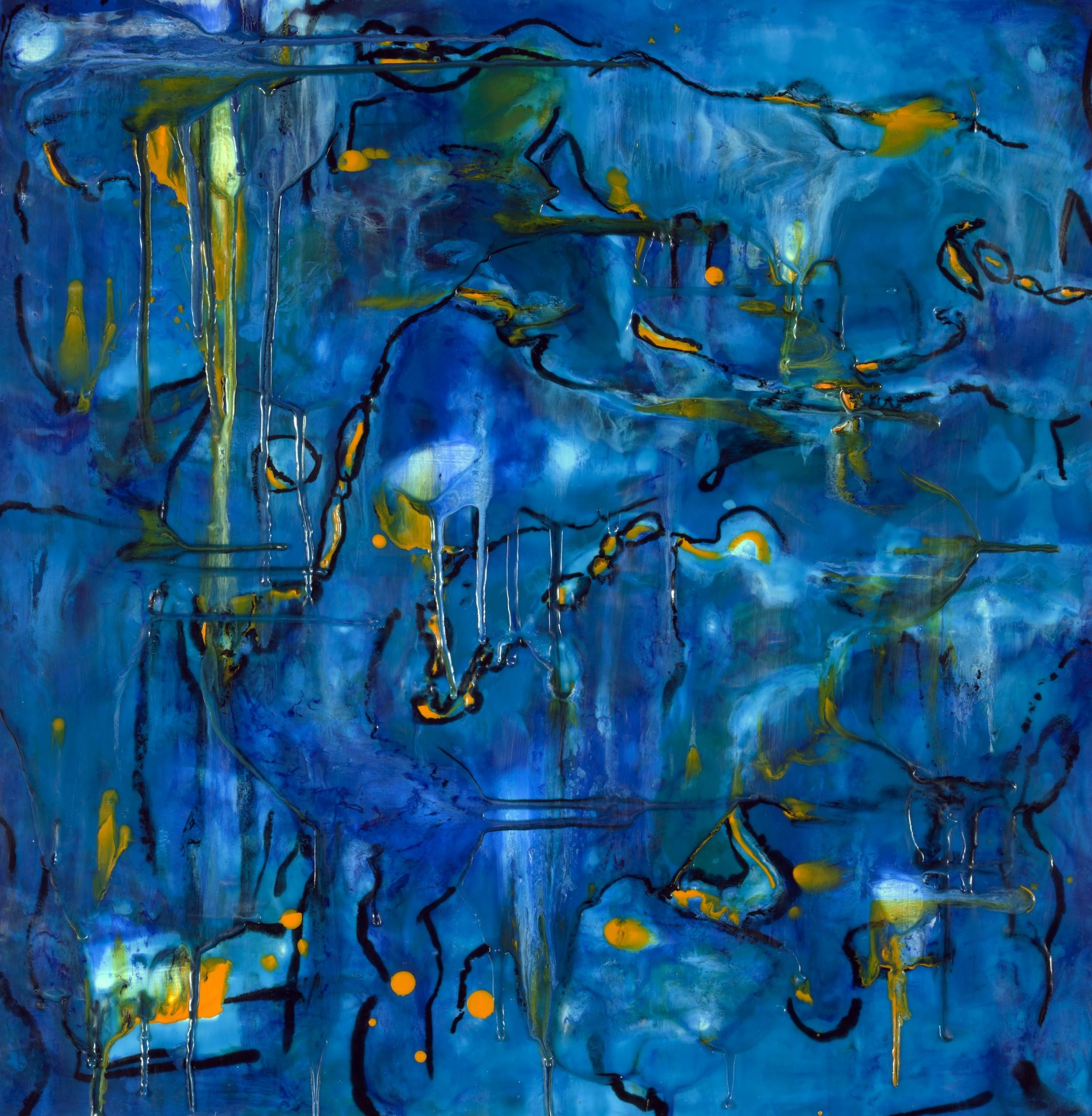 Under the Sea, Encaustic on wooden panel, Framed 19