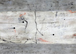 "Walk On By, Encaustic on wooden panel, Framed 16"" x 42"""